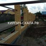 Забор, кирпичный забор, забор из желтого кирпича, колотый кирпич, кирпич скала, рваный камень, угловой.